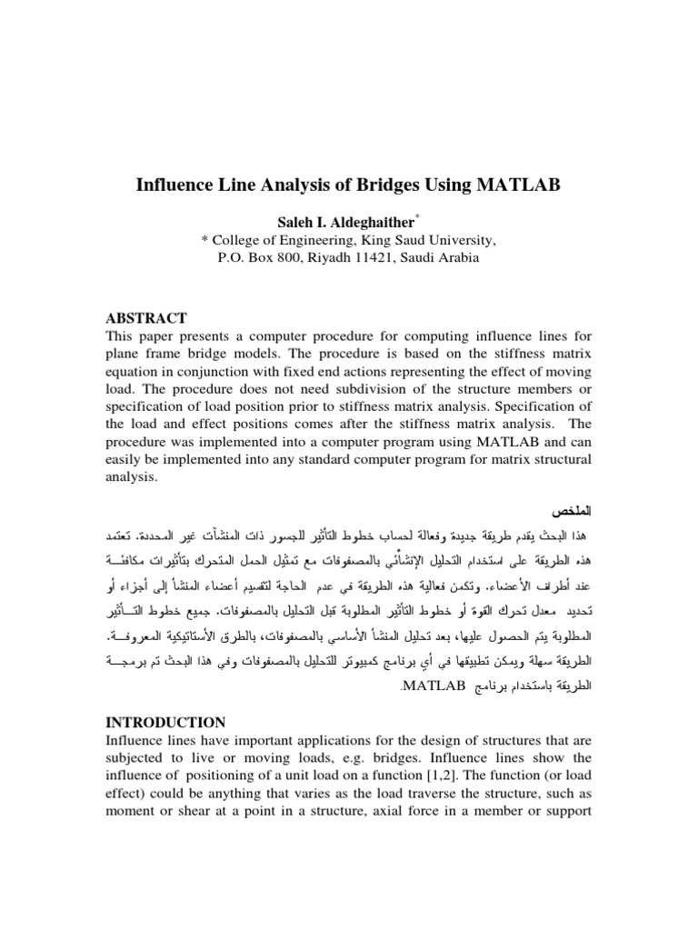 Influence line analysis of bridges using matlab mathematical influence line analysis of bridges using matlab mathematical analysis mathematical objects ccuart Choice Image