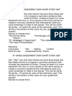 """8th Grade Assessment Over Short Story Unit Your """"Test"""""""