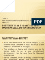 (2) Position of Islam Islamic Law
