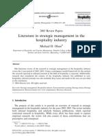 konaklama işletmelerinde stratejik yönetim üzerine literatür çalışması