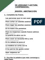 Fichas de Lenguaje y Lectura Comprensiva.