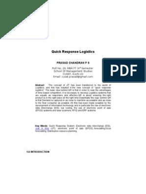 Quick Response Logistics   Electronic Data Interchange   Inventory