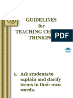 Guidelines for Teaching Critical Thinking