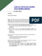 Pengetahuan Tentang Mobil Bensin Dan Mobil Diesel