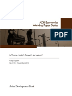Is Timor-Leste's Growth Inclusive?