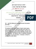امتحان توجيهي انجليزي م 3 -2013 للاستاذ زياد ياسين ابوغوش
