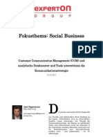 Experton Group Fokusthema Social Business; Customer Communication Management (CCM) und analytische Denkmuster und Tools unterstützen die Kommunikationsstrategie