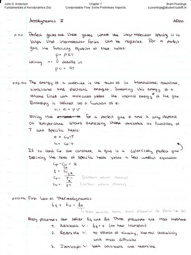 Aerodynamics 2 Summary | Aerodynamics | Mach Number