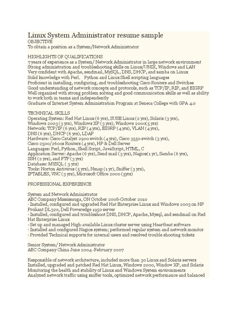 Linux System Administrator Resume Sample | Linux | System Administrator  Systems Administrator Resume