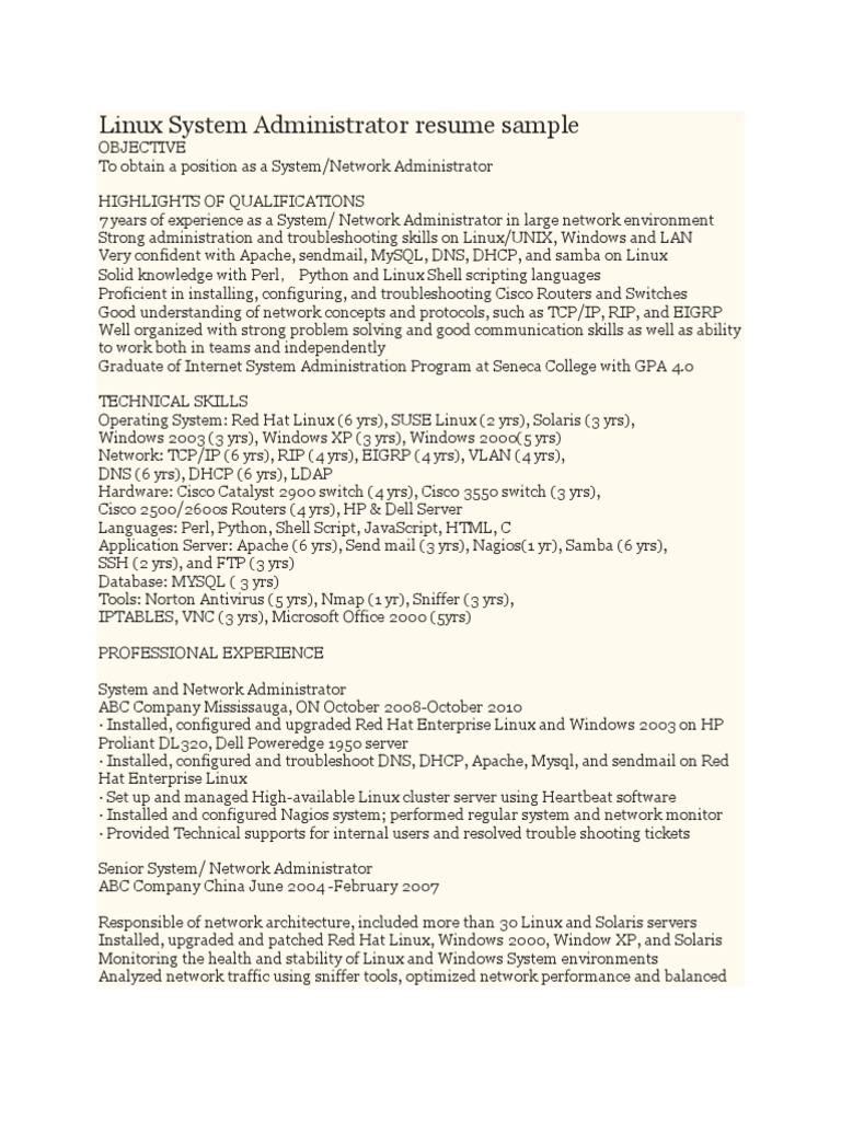 Systems Administrator Resume Examples Linux System Administrator
