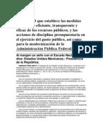 Decreto que establece las medidad del Plan de austeridad de EPN