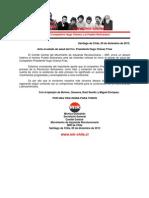 Saludo al Compañero Hugo Chávez y al Pueblo Bolivariano
