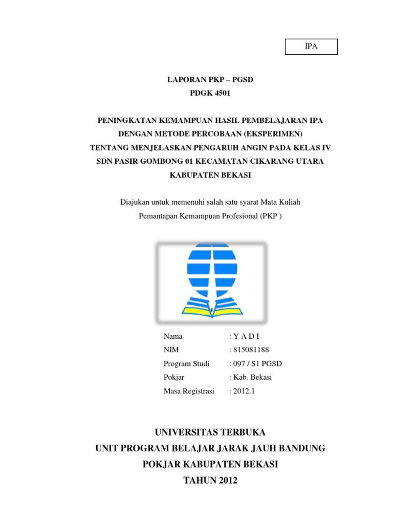 Contoh Laporan Pkp Ut 2012 Ipa Kelas Iv