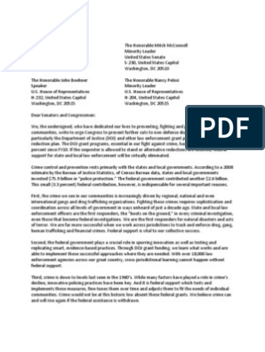 Law Enforcement and Prosecution Sequestration Sign-On Letter