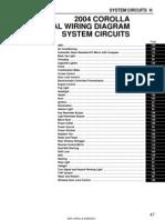 2004 Corolla Electrical Diagram -Index Diagrams