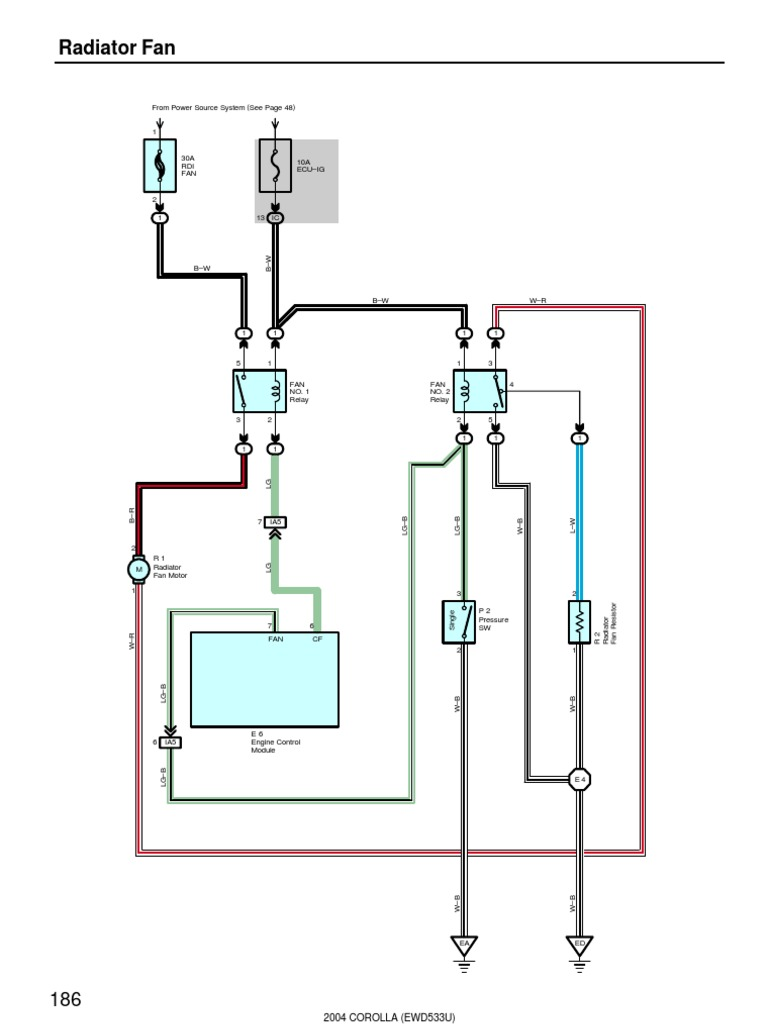 2004 Corolla Electrical Diagram - Radiator Fan | Electrical Components |  EnginesScribd