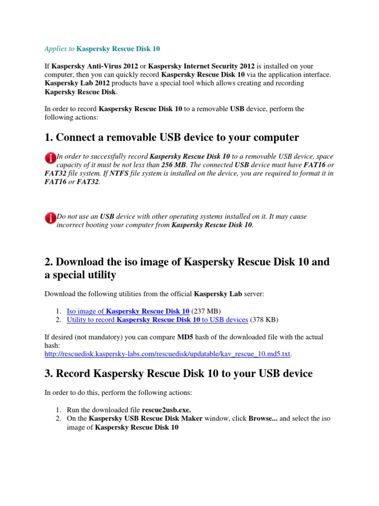 antivirus boot usb kaspersky