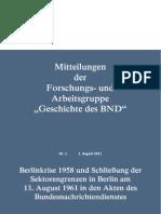 """Mitteilung der Forschungs- und Arbeitsgruppe """"Geschichte des BND"""" (MFGBND) - Hauptdokument"""