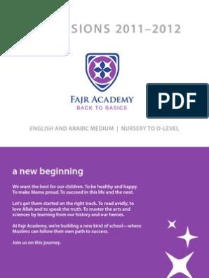Fajr Academy Brochure | Curriculum | Arabic