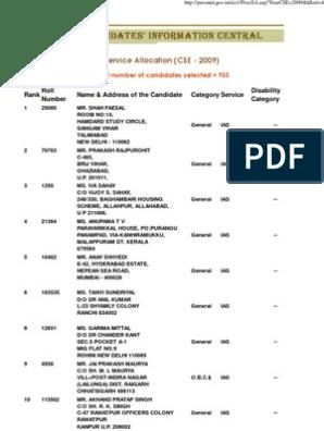 CSE 2009 Candidates' Information Central | Politics Of India
