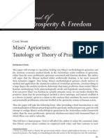 Mises' Apriorism - Tautology or Theory of Praxis?
