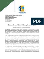 """Thomas Rivera Schatz felicita a gobernador electo  (Entrega Senado con """"finanzas saludables"""")"""