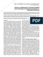 A Comprehensive Review of Optimization Techniques Applied for Placement and Sizing of Custom Power Devices in Distribution Networks