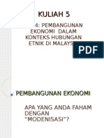 Kuliah 5 Pembangunan Ekonomi Dlm Konteks HE Di Malaysia