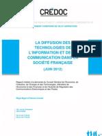 Rapport Credoc Sur Diffusion Des Technologies de l'Information Et de La Communication en France_2012