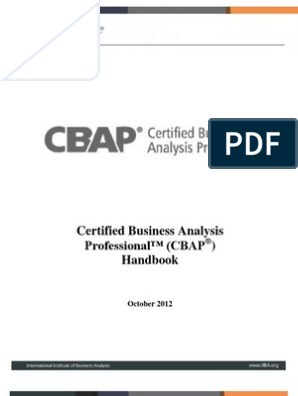 cbap / ccba certified business analysis study guide edition 2