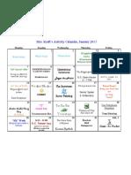 January 13 Activity Calendar PDF