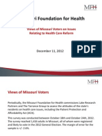 Views of Missouri Voters on Issues Relating to Health Care Reform