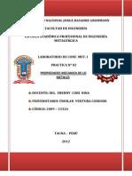 LABORATORIO N° 02 DE CONFORMADO DE METALES (PROPIEDADES MECANICA DE LOS METALES)