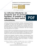 Angela Robledo anunció que votará en contra de la Reforma Tributaria. Constancia.
