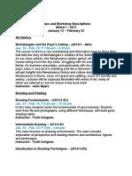 Class Descriptions - Winter Session I 2013