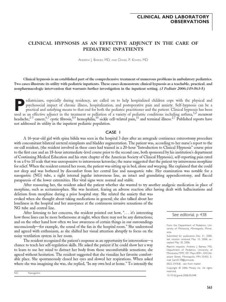 Clinical Hypnosis Effective Adjunct Care Pediatric ...