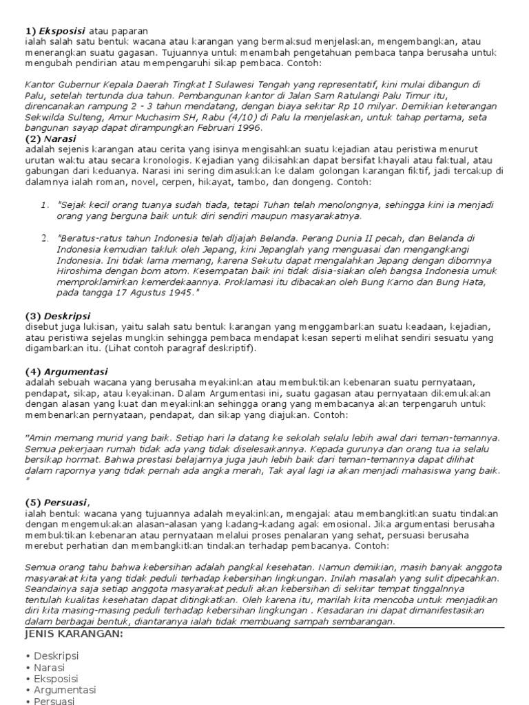 Contoh Singkat Paragraf Narasi Deskripsi Eksposisi Argumentasi Dan Persuasi