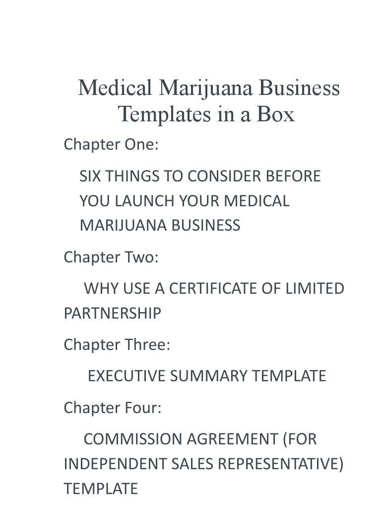 Medical Marijuana Business Templates Partnership Law Of Agency