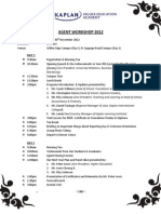 Agent Workshop 2012 Itinerary
