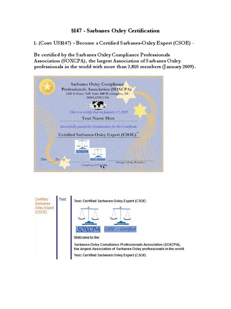 Sarbanes Oxley Certification Sarbanesoxley Act Regulatory