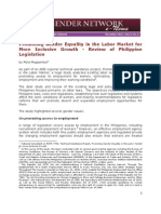Promoting gender equality in the labor market for more inclusive growth – A Review of Philippine legislation