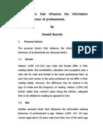 Factors that influence the information seeking behaviour
