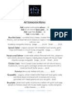 Blue Bird Bistro Afternoon Menu