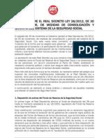 Informe al RD 28-2012 sobre medidas consolidación y garantía SS