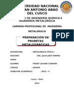 PREPARACION DE PROBETAS METALOGRAFICAS