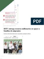 11-12-12 Sexenio Puebla - RMV Entrega Recursos Millonarios en Apoyo a Familias de Migrantes