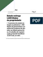 30.09 - Extra - RJ - Imóveis - Estado entrega 1.400 títulos de propriedade