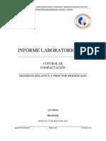 CONTROL DE COMPACTACIÓN - DENSIDAD RELATIVA Y PROCTOR MODIFICADO -