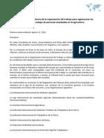 Opinión sobre la competencia de la organización del trabajo para reglamentar las condiciones de trabajo de personas empleadas en la agricultura