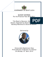 St. Lucia, Budget Address for the Financial Year 2010/2011, April 2010